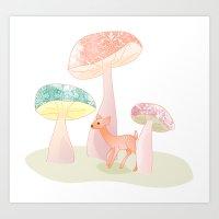 Mushrooms Trees Art Print