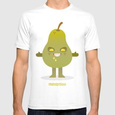 'Grizzly Pear' Robotic SMALL Mens Fitted Tee White