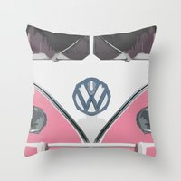 Pink Love Bus Redux Throw Pillow