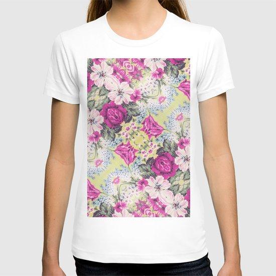 Trendy Vintage Purple Teal Floral Fashion Pattern T-shirt