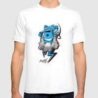 StormBot - Blue Robot Mens Fitted Tee White SMALL
