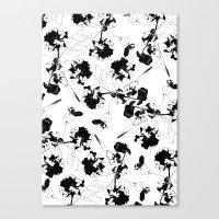 Hydranga Pattern  - Blac… Canvas Print