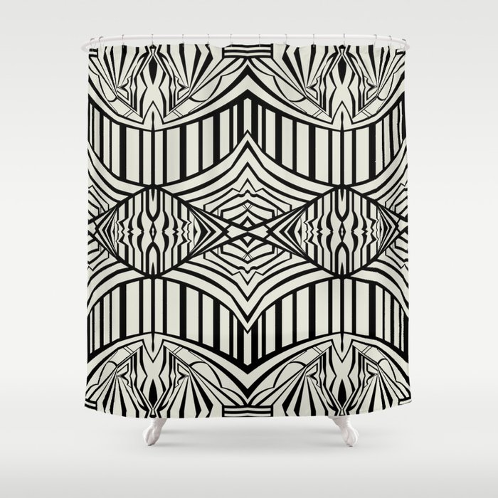 Geometric In Black And Beige Shower Curtain By Jenna Mhairi Society6