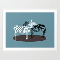 Zebra Embrace Art Print