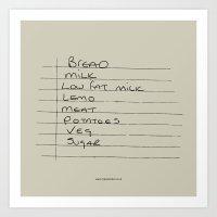 Shopping list Art Print