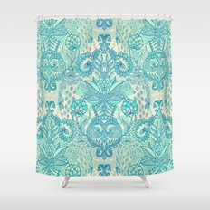 Botanical Geometry - nature pattern in blue, mint green & cream Shower Curtain