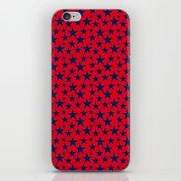 Blue stars on bold red background illustration. iPhone & iPod Skin
