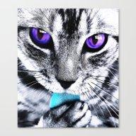 Purple Eyes Cat Canvas Print
