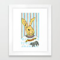 Rabbit and Bear Framed Art Print