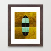 Canary/Mint Surfboard Framed Art Print