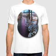 Quiet River In Winter Ti… Mens Fitted Tee White MEDIUM
