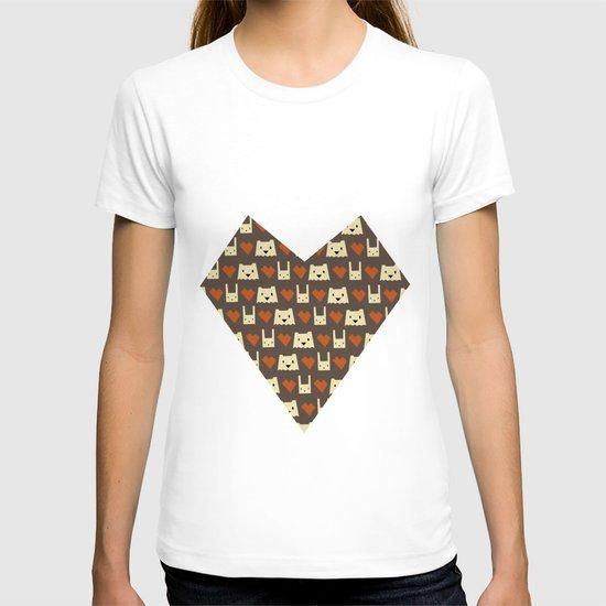 Yeti hearts bunny pattern T-shirt