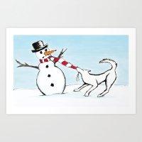 Canine Christmas (Snowman) Art Print