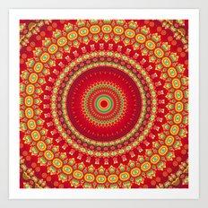 Red Velvet Mandala Art Print