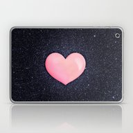 Pink Heart On Shiny Blac… Laptop & iPad Skin