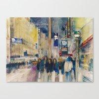 Phantom of the Opera New York Theatre District _ (2014) Watercolor  Canvas Print