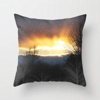 Winter Sun Rays Throw Pillow