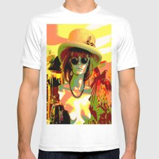 Vintage: Mad Hatter SMALL White Mens Fitted Tee