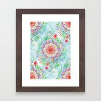 Messy Boho Floral in Rainbow Hues Framed Art Print