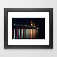 Mackinac Bridge At Night Framed Art Print