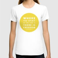 There Is Freedom Womens Fitted Tee White SMALL