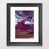 Fall My Way | Red Framed Art Print