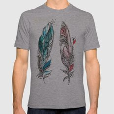 You & Me Feathers Mens Fitted Tee Athletic Grey SMALL