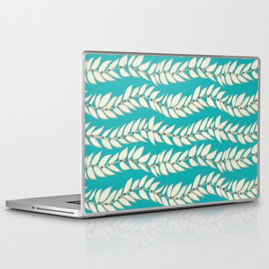 Leaf Dot Stripe Teal Laptop & iPad Skin