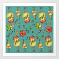 Two Chicks Pattern Art Print