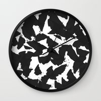 Black Bird Wings On Whit… Wall Clock