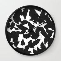 Black Bird Wings on White Wall Clock