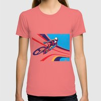 retro track cycling poster print G Force Womens Fitted Tee Pomegranate SMALL