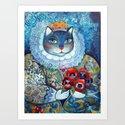 Qween Cat - Tudor Cat Art Print