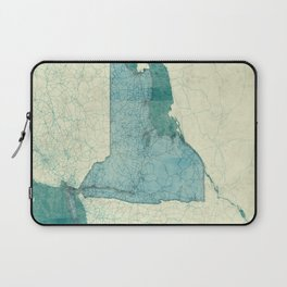 Laptop Sleeve - New York Map Blue Vintage - City Map Art