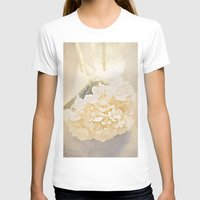 White Hydrangea Womens Fitted Tee White SMALL