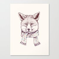 Fox And Scarf Canvas Print