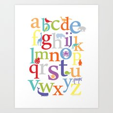 Alphabet Animals - Bright colorway Art Print