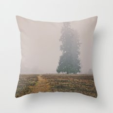 Hiking in the Fog Throw Pillow