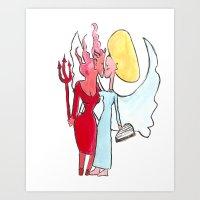 Angel/devil Lesbian Kiss Art Print