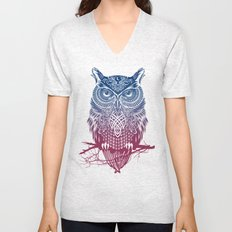 Evening Warrior Owl Unisex V-Neck