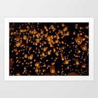 Loi Krathong Lanterns Art Print