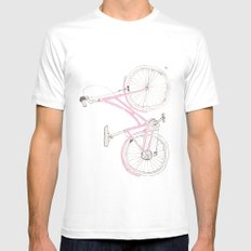 Pink Bike White SMALL Mens Fitted Tee