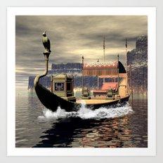 Sacred barge Art Print
