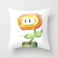 Fireflower Watercolor Pa… Throw Pillow