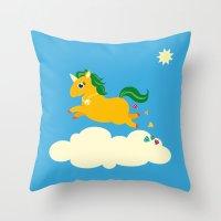 The golden unicorn of glitter poo Throw Pillow
