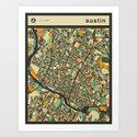 AUSTIN MAP Art Print