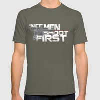Nice Men Shoot First Mens Fitted Tee Lieutenant SMALL