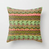 Pink And Green Pattern Throw Pillow