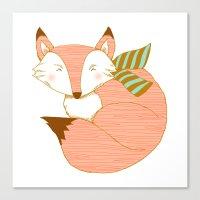 Fashionable Fox - Peach Canvas Print