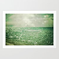 teal Art Prints featuring Sea of Happiness by Olivia Joy StClaire